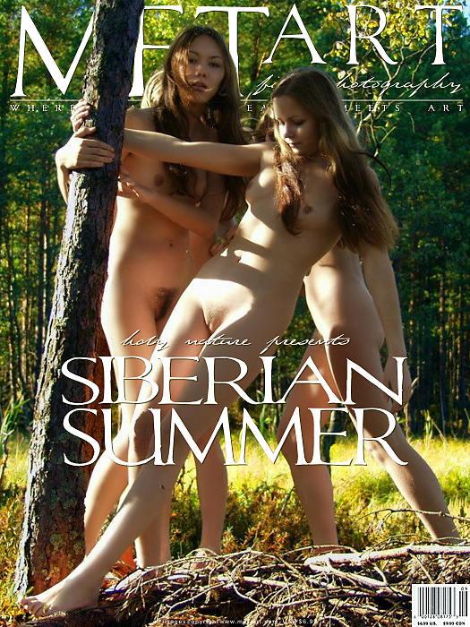 三个俄罗斯女孩西伯利亚森林外拍