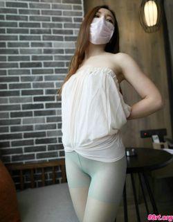 ROSI口罩NO.631白色睡衣妹子无内淡绿丝袜